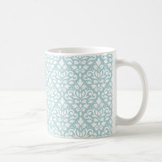 Scroll Damask Pattern White on Duck Egg Blue (B) Coffee Mug