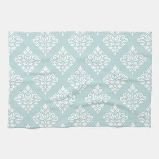 Scroll Damask Ptn (2) White on Duck Egg Blue (B) Tea Towel