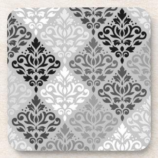Scroll Damask Ptn Art BW & Grays Coaster