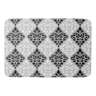 Scroll Damask Ptn B&W on Gray Bath Mat