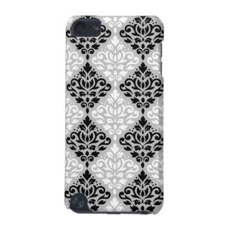 Scroll Damask Ptn B&W on Gray iPod Touch (5th Generation) Covers