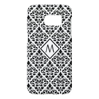 Scroll Damask Ptn Black on White (Personalized)