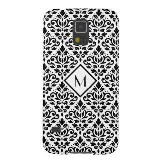 Scroll Damask Ptn Black on White (Personalized) Galaxy S5 Cases