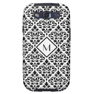 Scroll Damask Ptn Black on White (Personalized) Samsung Galaxy SIII Cases
