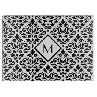Scroll Damask Ptn Black on White (Personalized) Cutting Board