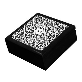 Scroll Damask Ptn Black on White (Personalized) Gift Box