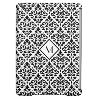 Scroll Damask Ptn Black on White (Personalized) iPad Air Case