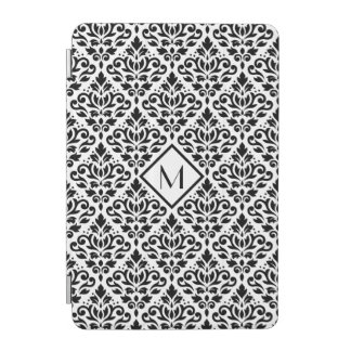 Scroll Damask Ptn Black on White (Personalized) iPad Mini Cover