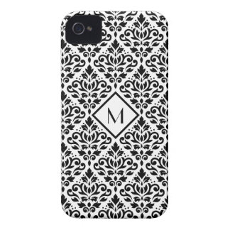 Scroll Damask Ptn Black on White (Personalized) iPhone 4 Case-Mate Case