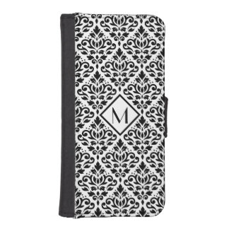 Scroll Damask Ptn Black on White (Personalized) iPhone SE/5/5s Wallet Case