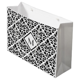 Scroll Damask Ptn Black on White (Personalized) Large Gift Bag