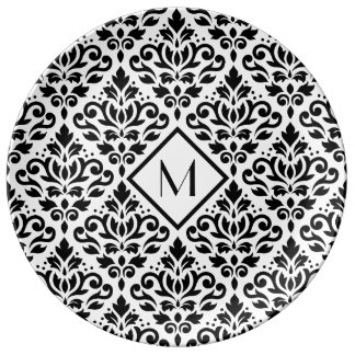 Scroll Damask Ptn Black on White (Personalized) Plate