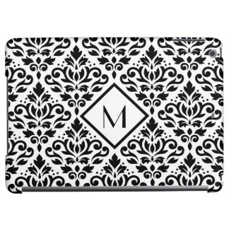 Scroll Damask Ptn Blk on White (Personalized)