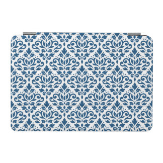 Scroll Damask Ptn Dk Blue on White iPad Mini Cover