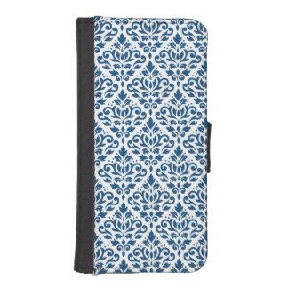 Scroll Damask Ptn Dk Blue on White iPhone SE/5/5s Wallet Case