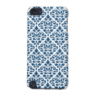 Scroll Damask Ptn Dk Blue on White iPod Touch 5G Case