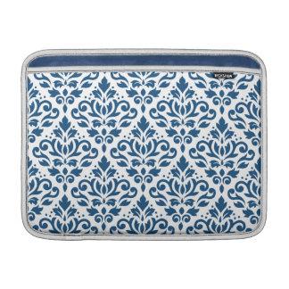 Scroll Damask Ptn Dk Blue on White MacBook Sleeve