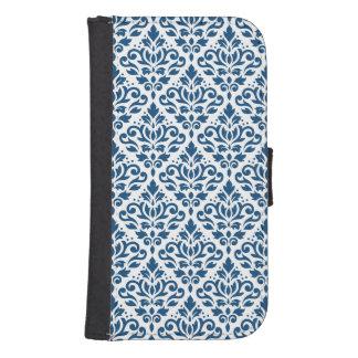 Scroll Damask Ptn Dk Blue on White Samsung S4 Wallet Case