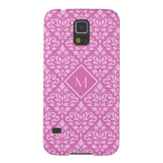Scroll Damask Ptn Lt on Dk Pink (Personalized) Galaxy S5 Cases