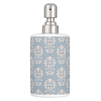 Scroll Damask Ptn Pink on Blue Bathroom Set