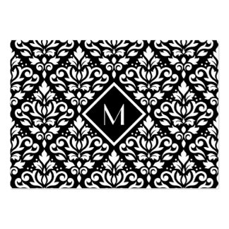 Scroll Damask Ptn White on Black (Personalized) Business Card