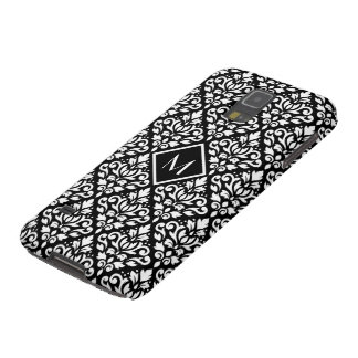 Scroll Damask Ptn White on Black (Personalized) Galaxy S5 Case