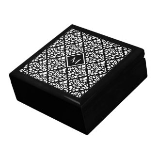 Scroll Damask Ptn White on Black (Personalized) Gift Box