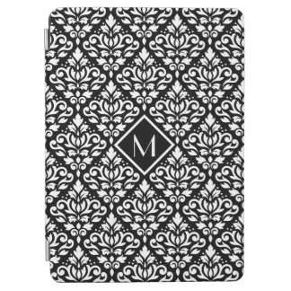 Scroll Damask Ptn White on Black (Personalized) iPad Air Cover