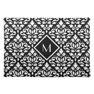 Scroll Damask Ptn White on Black (Personalized) Placemat