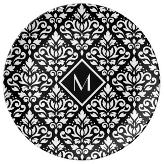 Scroll Damask Ptn White on Black (Personalized) Plate