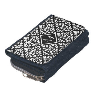 Scroll Damask Ptn White on Black (Personalized) Wallets