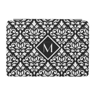 Scroll Damask Ptn White on Blk (Personalized) iPad Mini Cover