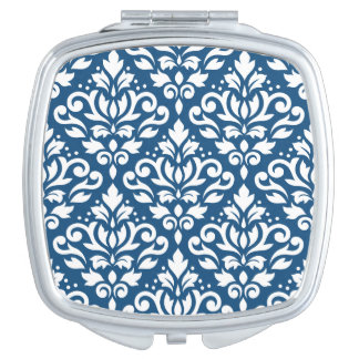 Scroll Damask Ptn White on Dk Blue Compact Mirror