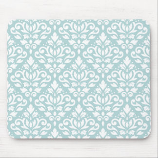 Scroll Damask Ptn White on Duck Egg Blue (B) Mouse Mat