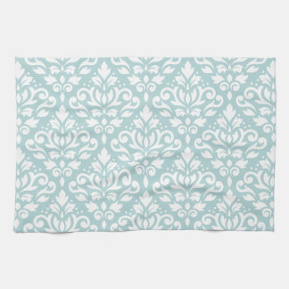 Scroll Damask Ptn White on Duck Egg Blue (B) Towel