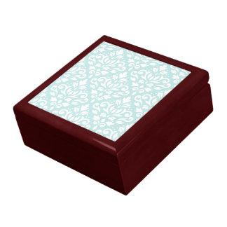 Scroll Damask Ptn White on Duck Egg Blue Large Square Gift Box