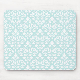 Scroll Damask Ptn White on Duck Egg Blue Mouse Mat
