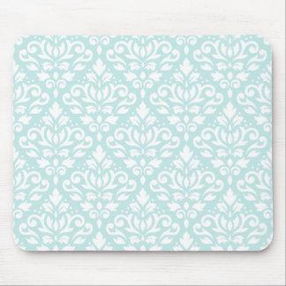 Scroll Damask Ptn White on Duck Egg Blue Mouse Pad