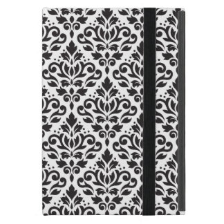 Scroll Damask Repeat Pattern Black on White Cover For iPad Mini