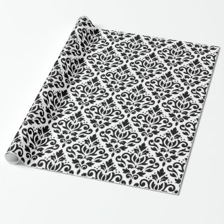 Scroll Damask Repeat Pattern Black on White Wrapping Paper