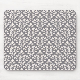 Scroll Damask Repeat Pattern Cream on Grey Mouse Pad