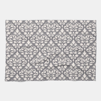 Scroll Damask Repeat Pattern Cream on Grey Tea Towel