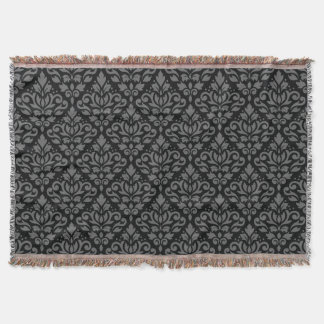 Scroll Damask Repeat Pattern Grey on Black Throw Blanket