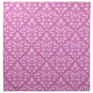 Scroll Damask Repeat Pattern Light on Dark Pink Napkin