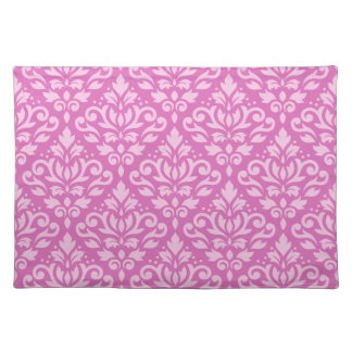 Scroll Damask Repeat Pattern Light on Dark Pink Placemat