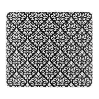 Scroll Damask Repeat Pattern White on Black Cutting Board