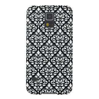 Scroll Damask Repeat Pattern White on Black Galaxy S5 Cover