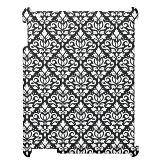 Scroll Damask Repeat Pattern White on Black iPad Cover
