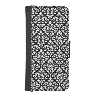 Scroll Damask Repeat Pattern White on Black iPhone SE/5/5s Wallet Case