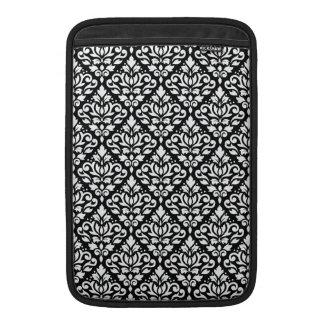 Scroll Damask Repeat Pattern White on Black MacBook Sleeve